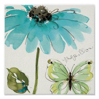 Blue Flower and Butterfly Print