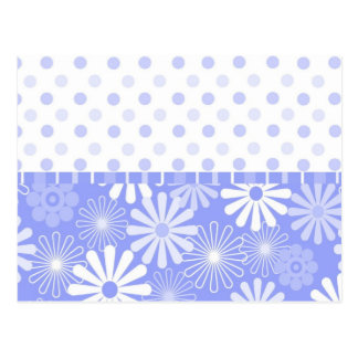 Blue flower and dots card postcard