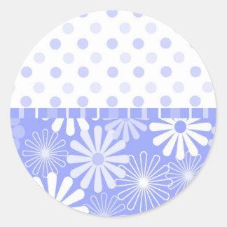 Blue flower and dots card round sticker