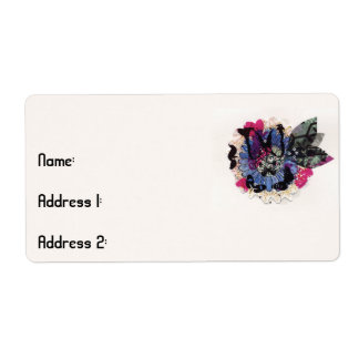 Blue Flower and Leaves Shipping Label