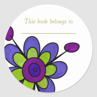 Blue Flower Bookplate Sticker
