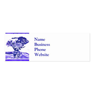 Blue Flower Bouquet in Vase Pop Art Mosaic Business Card