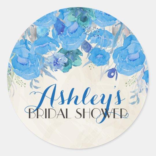 Blue Flower Bridal Shower Sticker