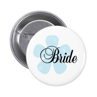 Blue Flower Bride 6 Cm Round Badge