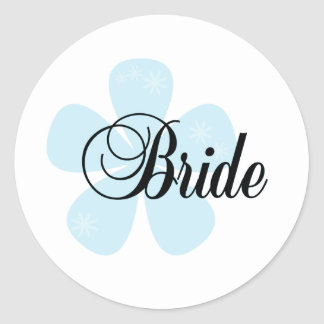 Blue Flower Bride Round Sticker