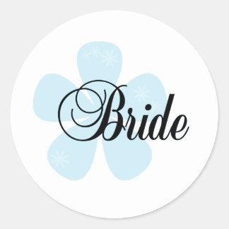 Blue Flower Bride Round Sticker