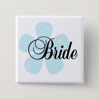 Blue Flower Bride Tshirts and Gifts 15 Cm Square Badge