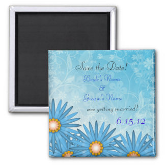 Blue Flower Cheerful Save the Date Magnet