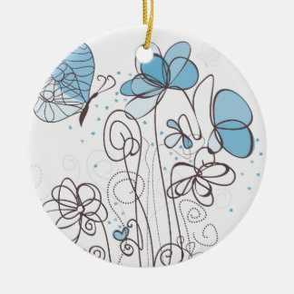 Blue flower christmas ornament