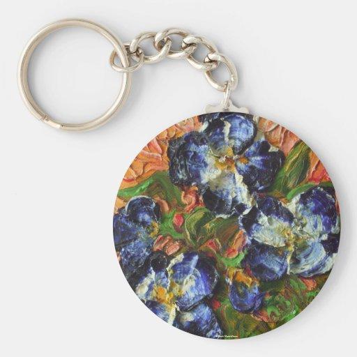 Blue Flower Cluster Keychain