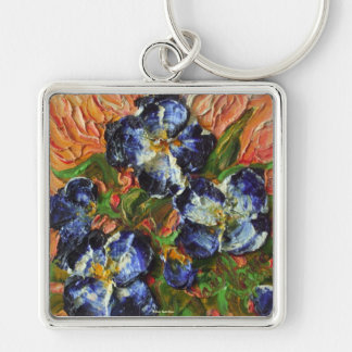 Blue Flower Cluster Silver-Colored Square Key Ring