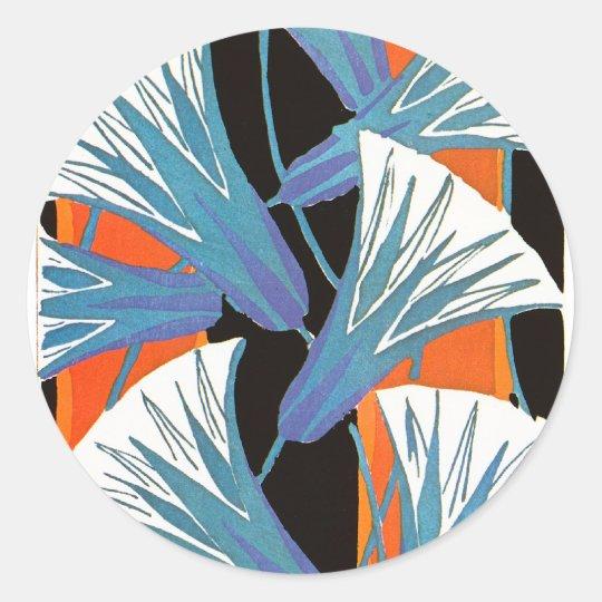 Blue Flower Deco Round Sticker