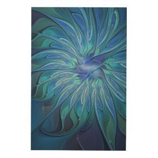 Blue Flower Fantasy Pattern, Abstract Fractal Art