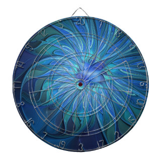 Blue Flower Fantasy Pattern, Abstract Fractal Art Dartboards