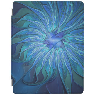 Blue Flower Fantasy Pattern, Abstract Fractal Art iPad Cover
