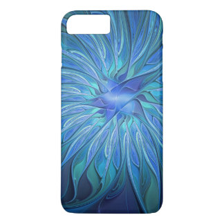 Blue Flower Fantasy Pattern, Abstract Fractal Art iPhone 8 Plus/7 Plus Case