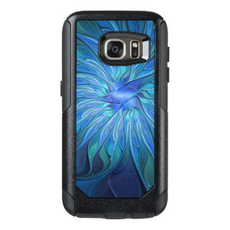 Blue Flower Fantasy Pattern, Abstract Fractal Art OtterBox Samsung Galaxy S7 Case