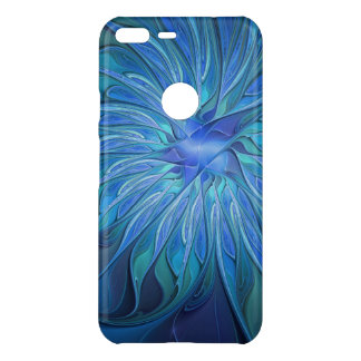Blue Flower Fantasy Pattern, Abstract Fractal Art Uncommon Google Pixel XL Case