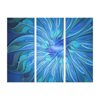 Blue Flower Fantasy Pattern, Abstract Triptych Canvas Print