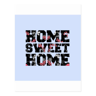 blue flower home sweet home design post cards