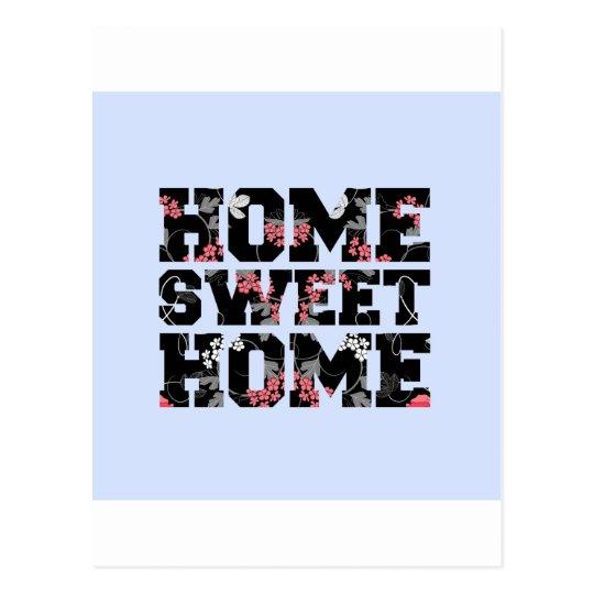 blue flower home sweet home design postcard