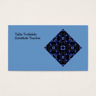 Blue Flower Kaleidoscope Art Custom Template Business Card