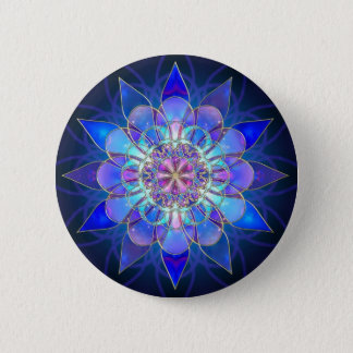 Blue Flower Mandala Fractal 6 Cm Round Badge