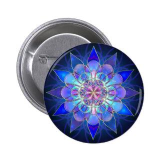 Blue Flower Mandala Fractal 6 Cm Round Badge