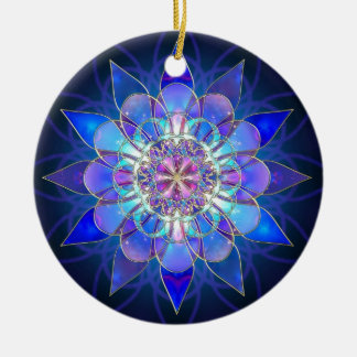 Blue Flower Mandala Fractal Christmas Ornament