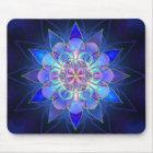 Blue Flower Mandala Fractal Mouse Mat