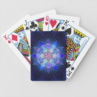 Blue Flower Mandala Fractal Poker Deck