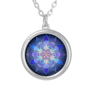 Blue Flower Mandala Fractal Silver Plated Necklace