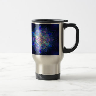 Blue Flower Mandala Fractal Travel Mug