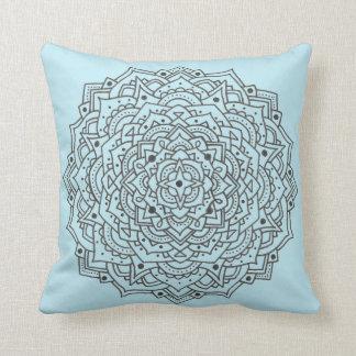Blue Flower Mandala Throw Pillow