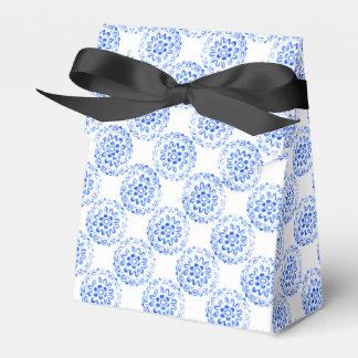 Blue Flower Mandalas Round Motif Design 2 + add Favour Box