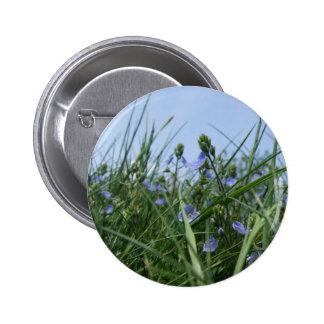 Blue Flower Meadow Button / Badge