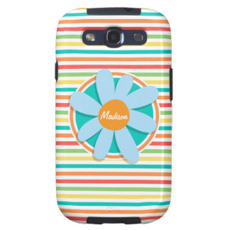 Blue Flower on Bright Rainbow Stripes Galaxy S3 Covers