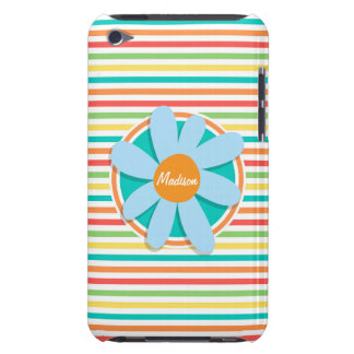 Blue Flower on Bright Rainbow Stripes Barely There iPod Case
