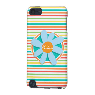 Blue Flower on Bright Rainbow Stripes iPod Touch (5th Generation) Cover