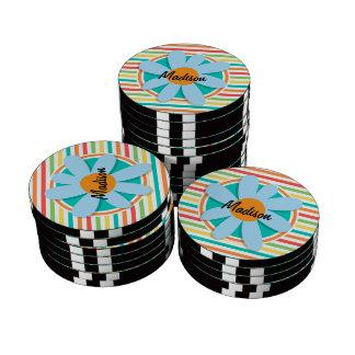 Blue Flower on Bright Rainbow Stripes Poker Chips Set