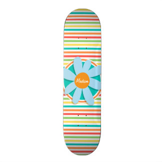 Blue Flower on Bright Rainbow Stripes Custom Skateboard