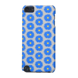 Blue Flower Pattern on Gray. iPod Touch 5G Cases