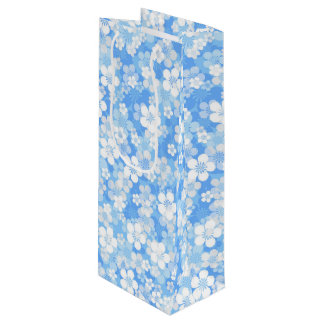 Blue Flower Pattern Wine Gift Bag