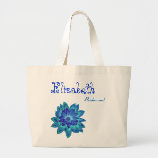 Blue Flower Personalized Bridesmaid Jumbo Tote Bag