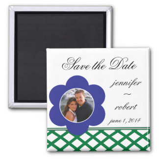 Blue Flower Photo Frame Save the Date Square Magnet