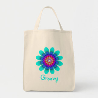Blue Flower Power Groovy Grocery Tote Grocery Tote Bag