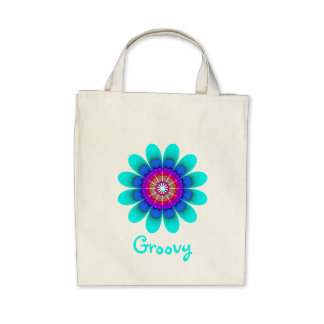 Blue Flower Power Groovy Organic Grocery Tote Bag