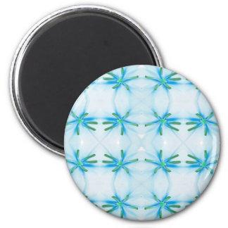 Blue Flower Power Pattern 6 Cm Round Magnet