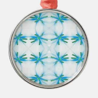 Blue Flower Power Pattern Christmas Ornament