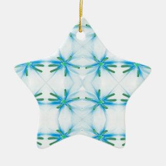 Blue Flower Power Pattern Christmas Ornament
